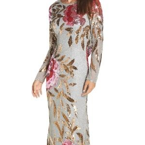 Floral sequin back drape gown. See photo for more